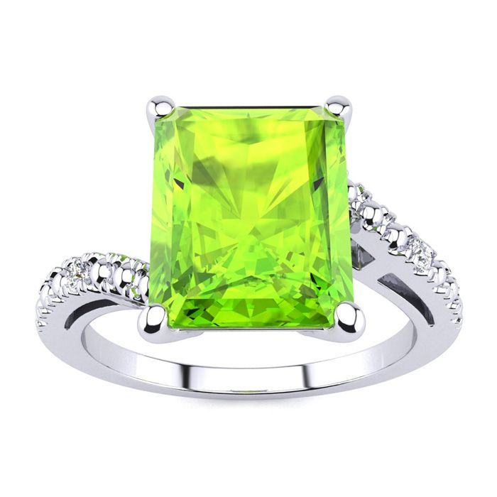 Ad 10 Karat White Gold Octagon Peridot And Diamond Ring With A Total Gem Weight Of 4 Carats Diamond Content Is 01ct In Diamond Ring Peridot Ring White Gold