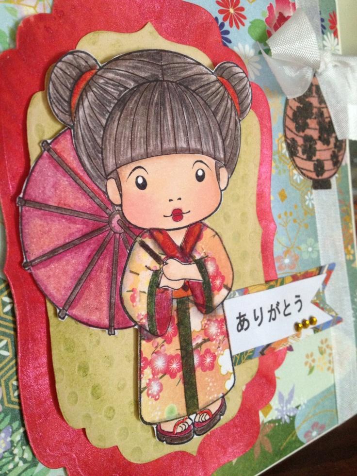 La la land crafts kimono Marci, skin colored with copic markers, hair with prismacolor pencils