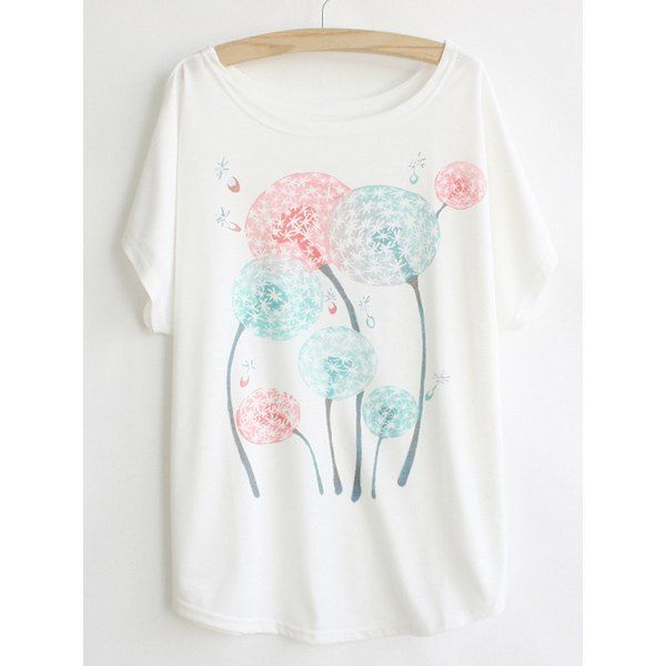 Casual Scoop Neck Dandelion Print Batwing Sleeve T-shirt For Women