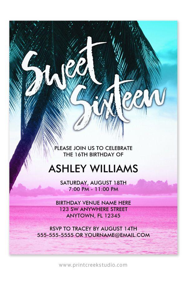 best 25+ beach sweet 16 ideas on pinterest | beach party themes, Party invitations