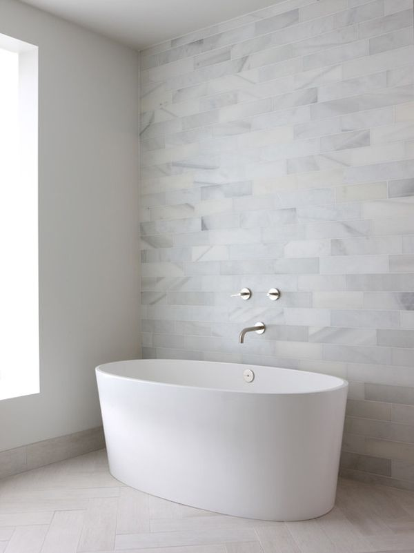 beautiful and simple | bathroom | white | stone tile wall #loft ~ Colette Le Mason @}-,-;---