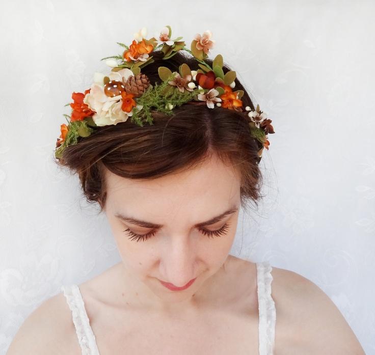 Fall Wedding Hairstyles With Flower Crown: Rustic Fall Wedding Headpiece, Orange Flower, Green