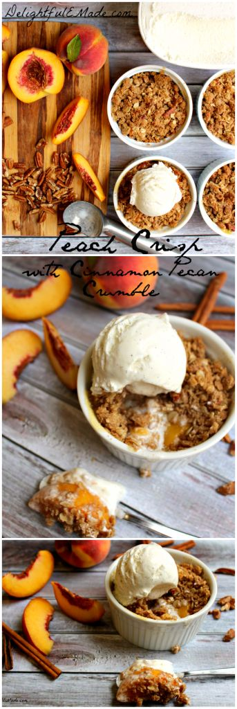 Peach Crisp with Cinnamon Pecan Crumble by DelightfulEMade.com | Fresh summer peaches topped with an amazing Cinnamon Pecan crumble.  Best served hot with a bit scoop of ice cream.  Deliciousness!!