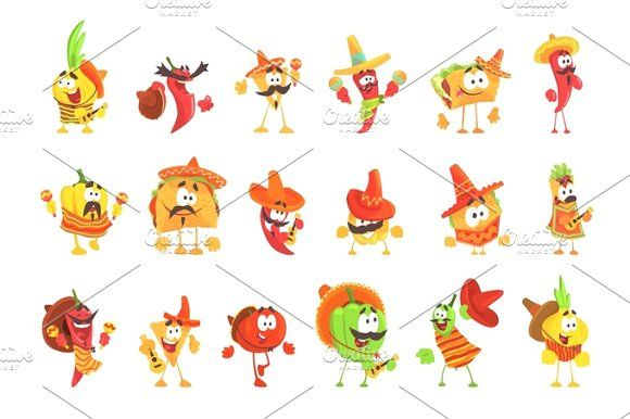 Mexican Food And Vegetables Set Of Cool Cartoon Characters In National Clothes With Guitars And Maracas Smiling And Dancing Cool Cartoons Cartoon Characters Character