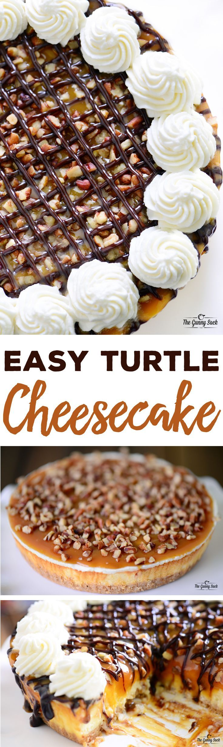 Easy turtle cheesecake recipe made from a Sara Lee Original Cream Cheesecake. Top it with chocolate, caramel, pecans and whipped cream. Great for the holidays! #UniquelyYours Sponsored by Sara Lee®