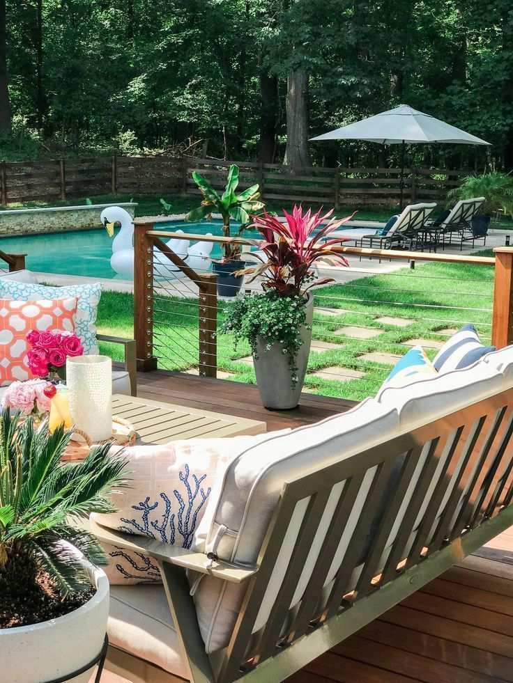 Backyard Deck Decorating Ideas Stainless Steel Cable Railing Patio Furniture Layout Outdoor Tropical Plants In Pots