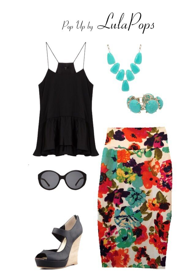 Floral Pencil Skirt Outfit #pencilskirt #summer #floral #outfit LuLaRoe floral Cassie pencil skirt Seychelles Down to the Wire Black Wedge The Row Jackie O sunglasses