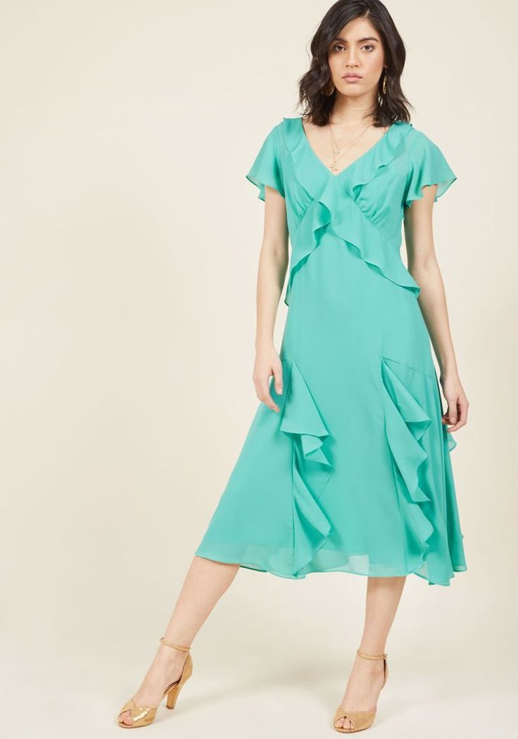 1930s Midi Dress in Seaglass $99.99 AT vintagedancer.com