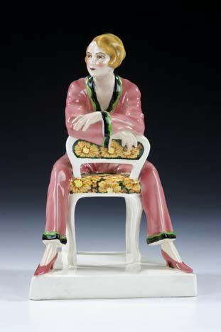 Modedame Goldscheider Vienna Ceramic Figurine. Not lustreware but so fabulous I had to pin it