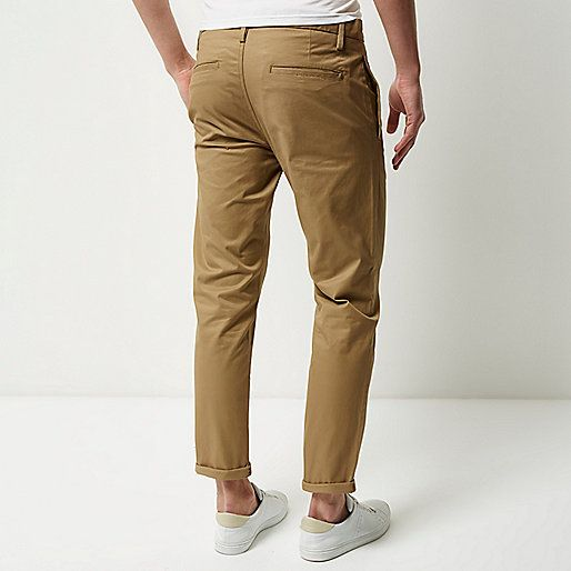 Brown stretch cropped slim chino trousers - trousers - sale - men