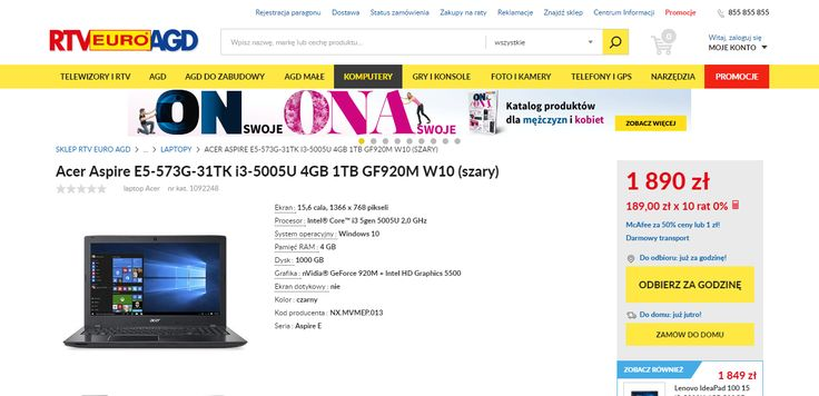 RTV Euro AGD product page. Red prices, yellow CTA buttons.