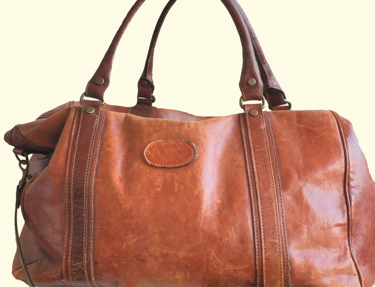 Vintage Leather Weekend Bag Carry All Bag by BARINDELLI & TREZZI Bellagio Italy by TresbeLLL on Etsy