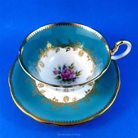Bright Blue Border with Pink Rose Center Aynsley Tea Cup and Saucer Set