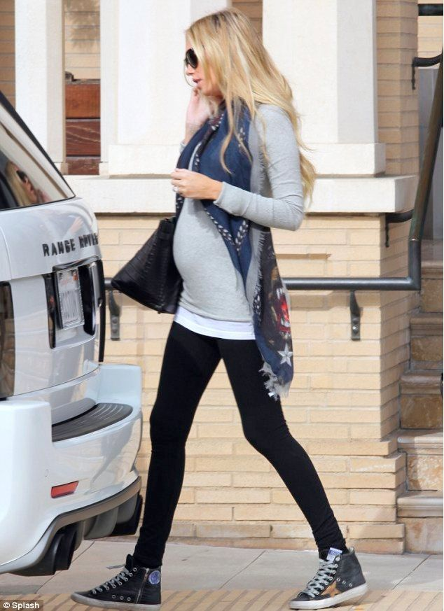 Petra Ecclestone looks casual in grey jersey. More photos and discussion of Petra in blog post. Like Baby Bump Chic on facebook: https://www.facebook.com/BabyBumpChic