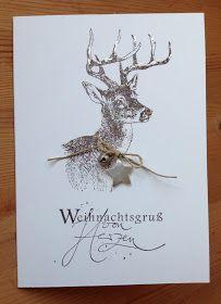 Weihnachtskarte mit Hirsch-Stempel von der Alexandra Renke Manufaktur