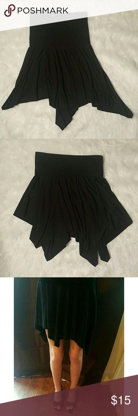 Stretchy asymmetrical black skirt Soft and stretchy, black asymmetrical skirt, EUC no fading or signs of wear Shameless  Skirts Asymmetrical