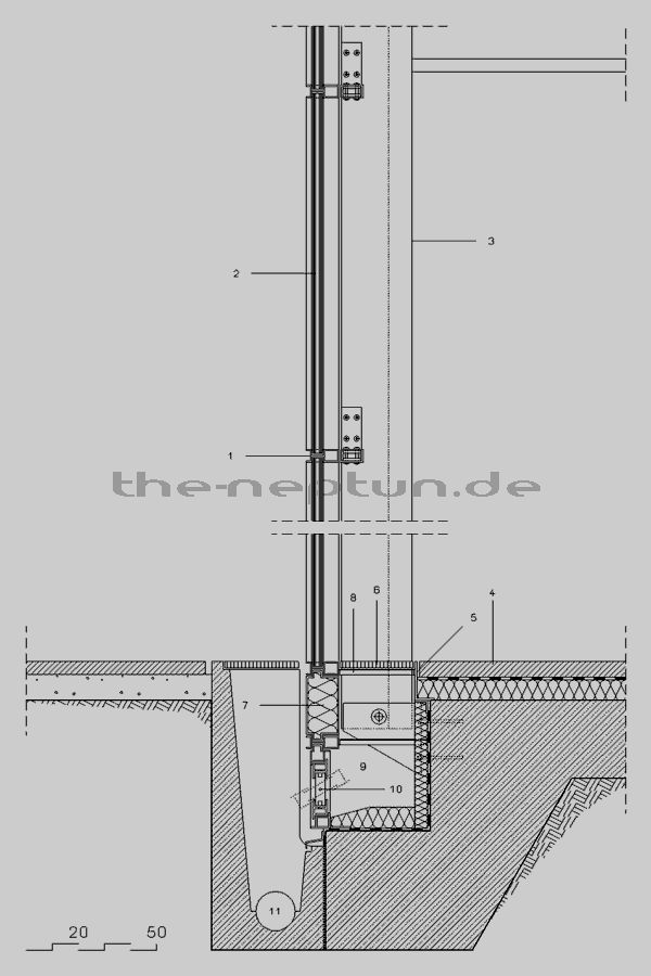 Glasfassade Detail Bodenanschluss