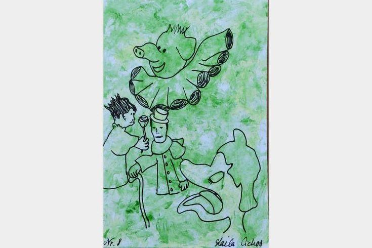"Artmoney - unique piece of art doubling as a gift card ""Green money 8"""