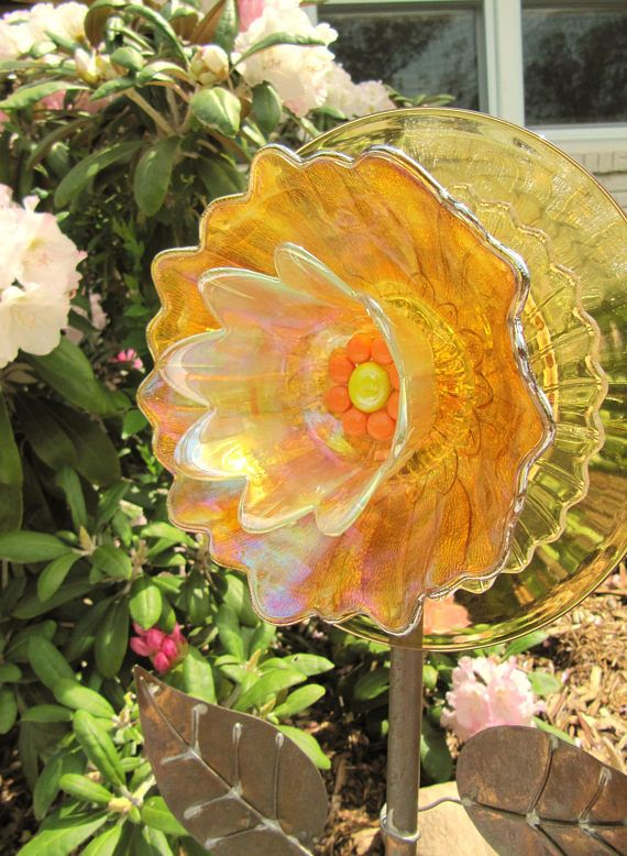Glass Plate Flower, Glass Flowers, Garden Art, Yard Art, Suncatcher, DIY, Homemade, Whimsy, Repurposed, Upcycled, Recycled Materials, Flower Garden, Miscellaneous Glass & Dishes