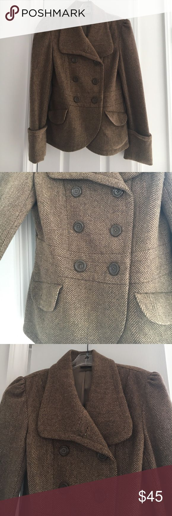JLO by Jennifer Lopez Tweed Jacket Beautiful brown tweed jacket. Gently worn. Jennifer Lopez Jackets & Coats