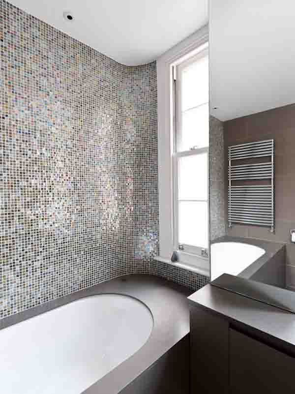 #colorful #shower and #bath #tile. #interiordesign #bathroom