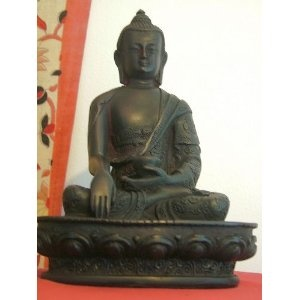 Tibetan Medicine Buddha in Black Resin with detailed robe; 18.5cms Tall- next day delivery if you order before 12.30 from the UK mainland (Mon-Fri only): Amazon.co.uk: Kitchen & Home