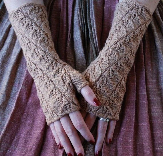 Knitting pattern PDF Spiraling Leaves Fingerless by lynnevogel, $5.50 -- Just love this pattern
