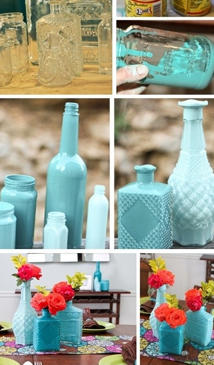 I like the diff patterns of the bottles, I would just choose diff colors. Def saving this one for another project