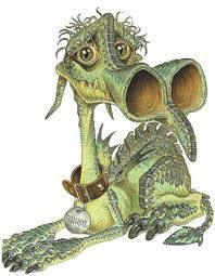 Errol the dragon (from the Discworld books by Terry Prachett, artwork by Josh Kirby)