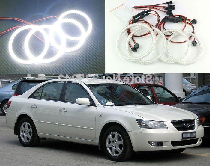 48.00$  Buy now - http://alibs6.worldwells.pw/go.php?t=32372142363 - For Hyundai Sonata 5 generation (NF) 2006-2010 Excellent angel eyes Ultrabright illumination smd led Angel Eyes Halo Ring kit