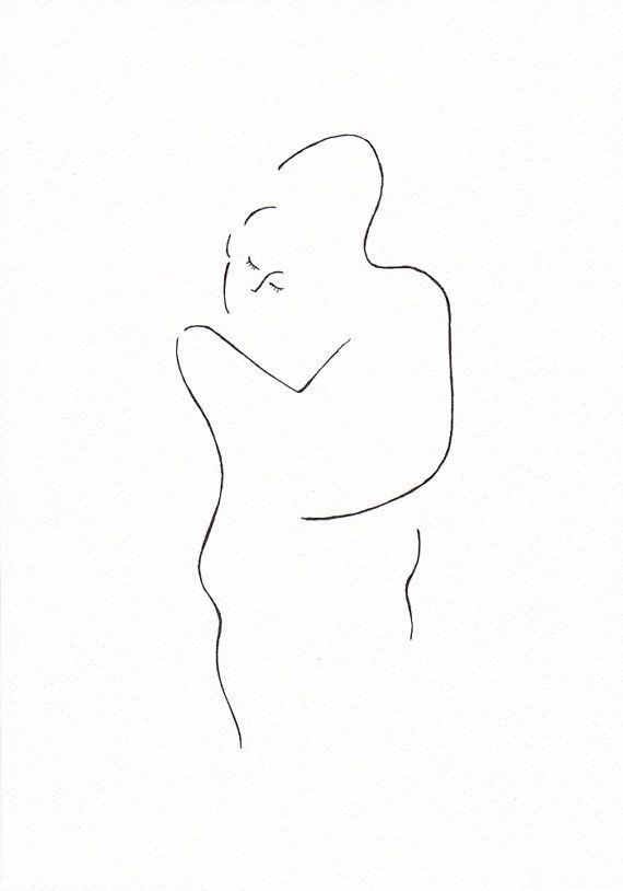 Black and white minimalist ink drawing of lover's by Siret Roots on Etsy #art #minimalist