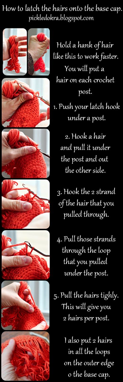Pickled Okra by Charlie: Doll Hair: free pattern and tutorial-Step 3, latching on the hair