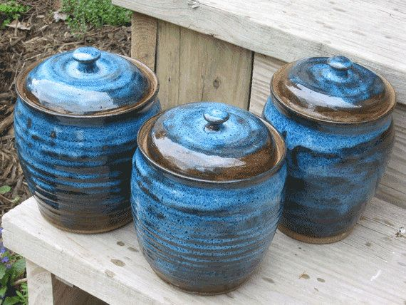 kitchen pottery canisters cheap sinks black canister set handmade 0513001 stuff ceramics