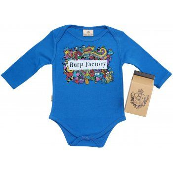 """Ever wondered how they do it? They just keep pumping them out like a production line in a factory! Our """"Burp Factory"""" is a babygrow that makes a statement."""