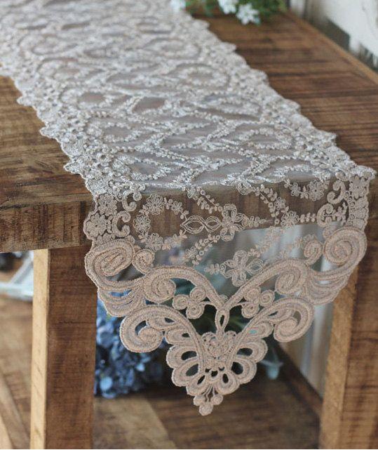 Handmade Wedding VTG Antique Handmade Table Doily Runner,Embroidery&Lace 25x180cm