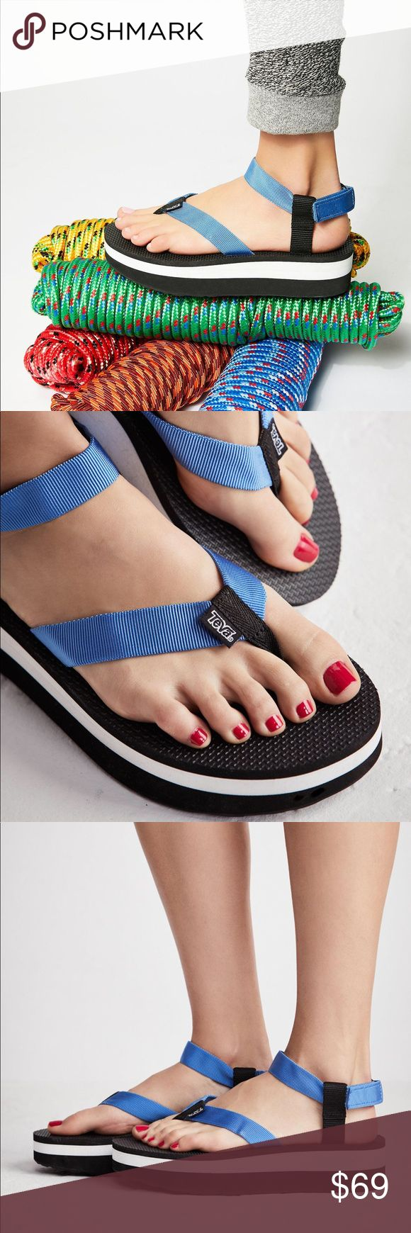 Blue Classic Flatform Sandal The classic Teva flip flop gets an ultra cool, modern update with a flatform design. Comfortable ankle strap with an easily adjustable hook-and-loop fastener Quick-dry polyester upper for easy, oceanside wear. Care/Import Import by Teva X Free People  Measurements Sole: 2.25 in Free People Shoes Sandals
