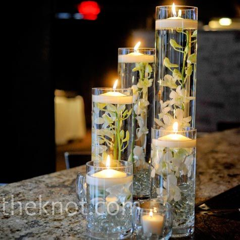 wedding, glass cylinder centerpieces, floating candles