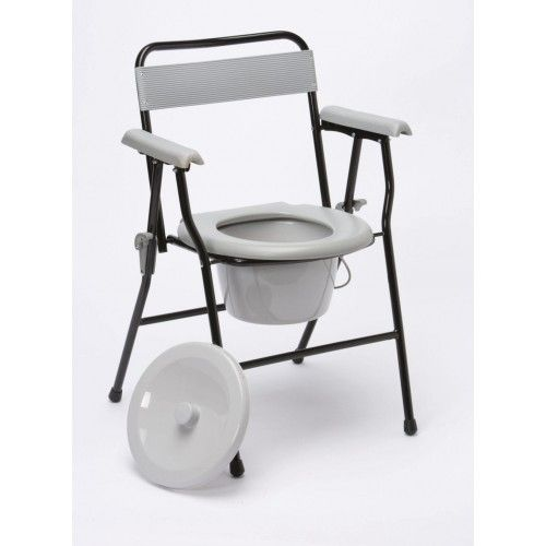 Smart Care Folding Commode Chair with support handles and low backrest provides the user comfort and stability. As it comes with a removable pan, it can be used at bedside.
