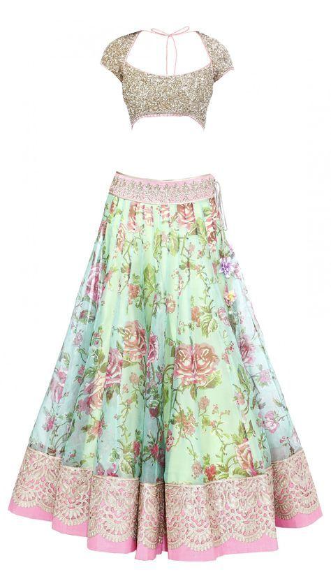 Anushree Reddy's Blue Green Floral Lengha Set - JIVA