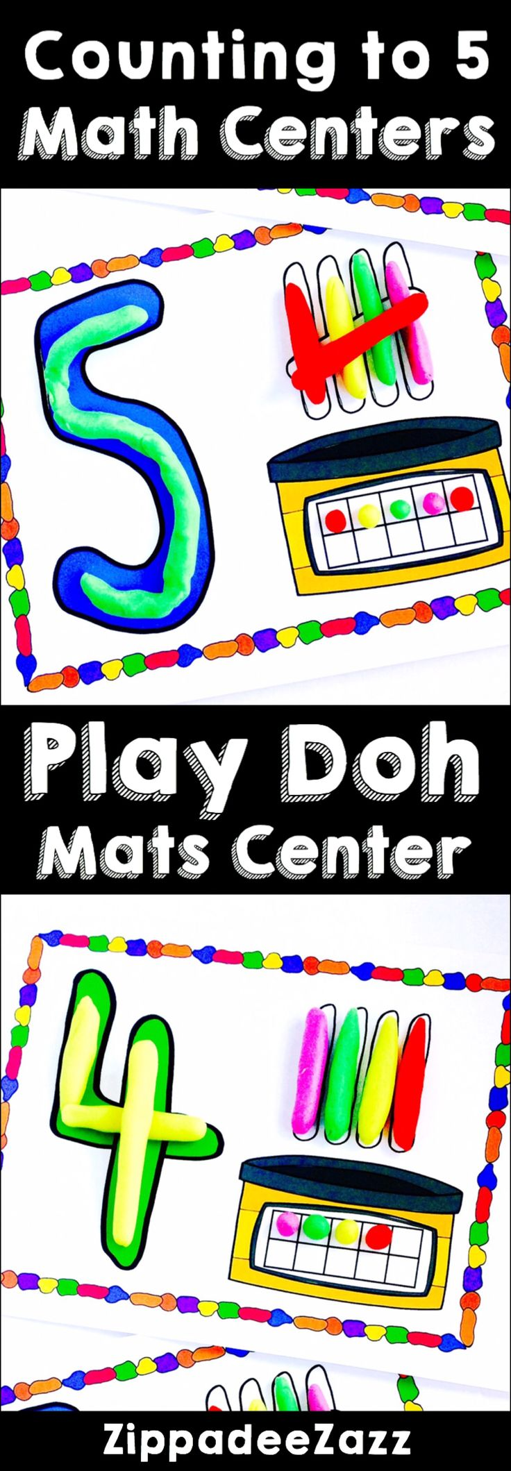 Help your preschoolers and kindergarten little ones with counting to 5 with this play doh mats math Centers. Ten frames, numbers and tally marks are featured on the mats to build using play doh, whilst practicing motor skills!