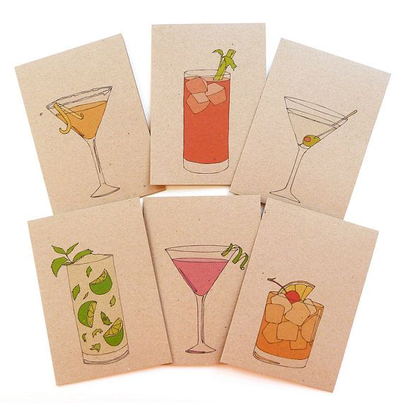 Set of six cocktail cards with recipes on the back!