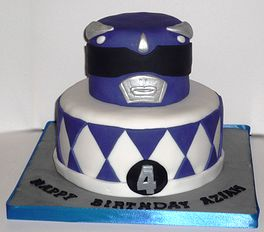 Blue power ranger birthday cake by Eva Rose Cakes