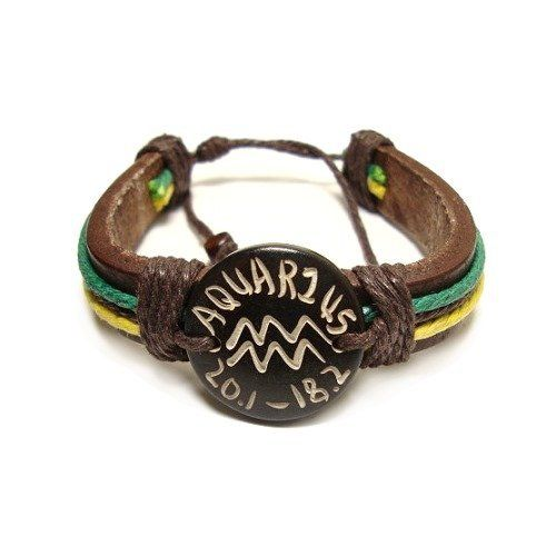 Aquarius the Water Bearer Zodiac Tribal Leather Bracelet with Earth Tone Cord and Beads Creative Ventures Jewelry. $8.99. Aquarius the Water Bearer Zodiac Symbol. Shade of Cord may Vary with Earth tone Shades. Aquarius Birth dates are from January 20 to February 18. Tribal Leather Bracelet with Wrap Around Cord and Beads
