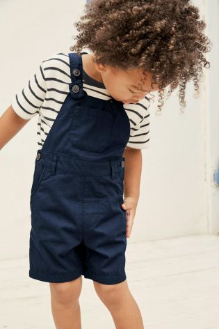Buy Navy Short Leg Dungarees With Stripe Tee (3mths-6yrs) online today at Next: United States of America