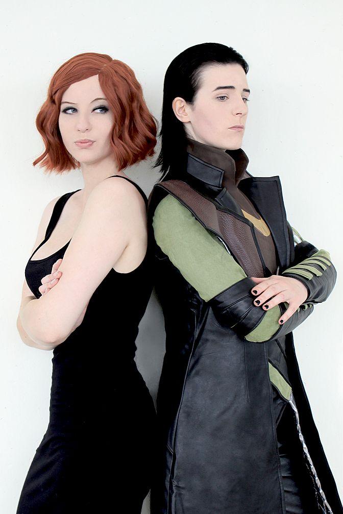 Black Widow and Loki cosplay.