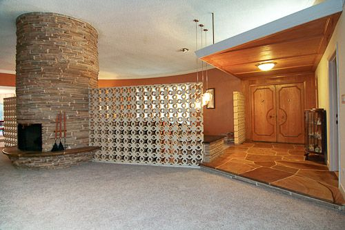 1957 Mid-century Modern house in Houston, Texas - Foyer, open to the round Living/Family rooms...