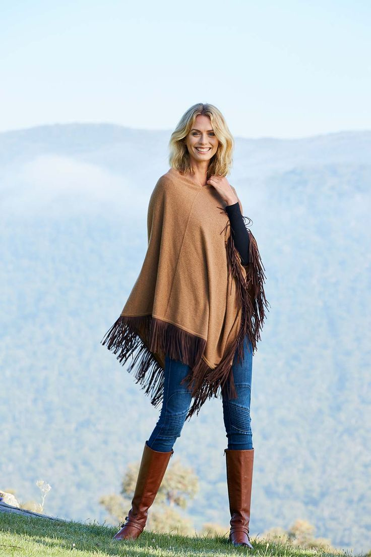 EVERYDAY CASHMERE - V Neck Poncho With Leather Tassels
