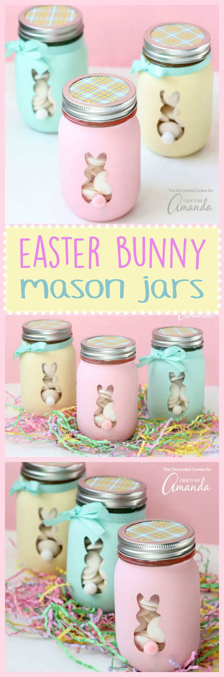 These Easter Bunny Mason Jars are perfect to fill with candy or votive candles and use them for Easter decor or as Easter gifts!
