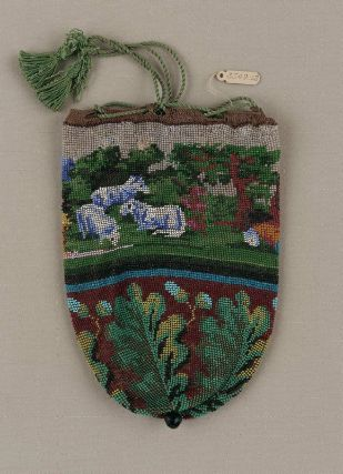 Round drawstring bag in the MFA--with sheep!!!