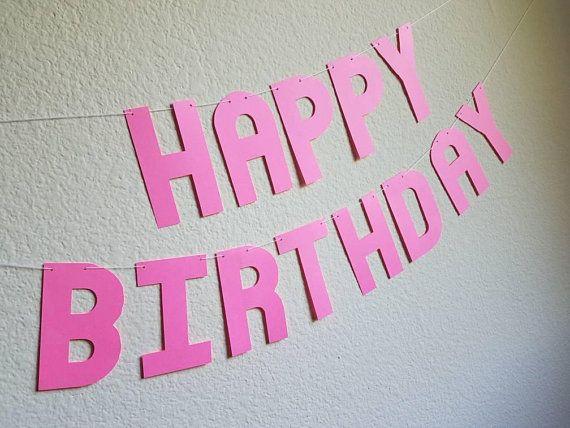 Neon Pink Happy Birthday Banner, Bright Pink Birthday Banner,Hot